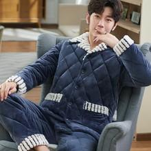 男士睡si冬季三层加gl夹棉绒秋冬式保暖法兰绒男式家居服