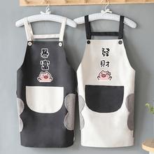 家用厨si可擦手女防pu做饭可爱日系韩款时尚工作服大的男