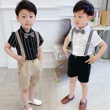 宝宝西si套装夏男童pu带裤休闲西服花童礼服主持的走秀演出服