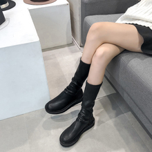 201si秋冬新式网pu靴短靴女平底不过膝圆头长筒靴子马丁靴