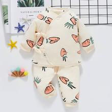 新生儿si装春秋婴儿sa生儿系带棉服秋冬保暖宝宝薄式棉袄外套
