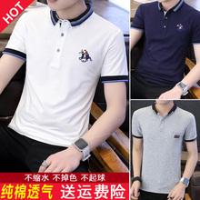 夏季潮sj男装衬衫领hjO衫2020新式有带领短袖T恤男翻领短袖衣服
