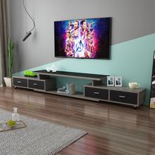 简约现sk(小)户型钢化li厅茶几组合伸缩北欧简易电视机柜