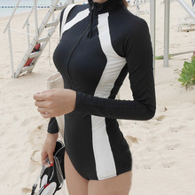 新款二件套防晒长袖泳衣女sl9链保守钢ba生修身连体温泉泳装