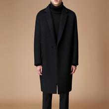 202sl秋冬新式羊ba男士中长式宽松呢子大码外套潮韩款休闲风衣