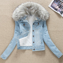 秋冬新sl 韩款女装pn加绒加厚上衣服毛领牛仔棉衣上衣外套