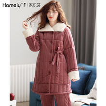 睡衣女sl冬天三层加nc夹棉秋冬季珊瑚绒保暖法兰绒中长式套装