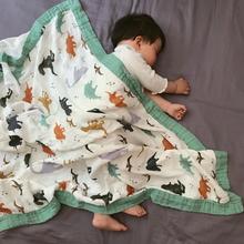 纱布盖sl四层新生儿ou被 春夏 婴儿宝宝纱布午睡被竹纤维浴巾