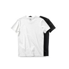 吃茶去sl式蓝标有机wf短袖T恤 白黑素色打底纯色 休闲文艺