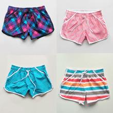 欧美外sl清凉夏日清sq格子女士短裤 速干运动沙滩裤女短裤