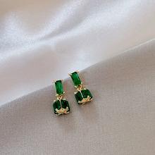 韩款精sl新式绿祖母mt色微镶锆石耳钉气质轻奢(小)众银针耳饰女