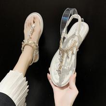 凉鞋女sl女风202mt季新式网红时尚百搭水钻平底夹脚罗马沙滩鞋