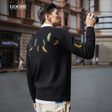 UOOsmE刺绣情侣sh款潮流个性针织衫春秋季圆领套头毛衣男厚式
