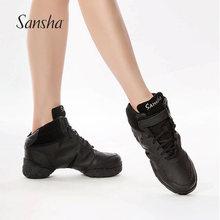 Sansmha 法国sh代舞鞋女爵士软底皮面加绒运动广场舞鞋