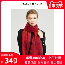 MARsmAKURKkw亚古琦红色格子羊毛围巾女冬季韩款百搭情侣围脖男