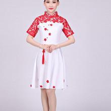 新式青sn瓷大合唱团se服装女成的古筝表演服大学生合唱服纱裙