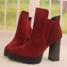 新式防sn台高跟粗跟55带绒面羊皮女鞋子女靴子短靴单靴X131-1