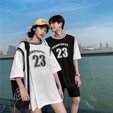 夏装情sn装202055ns假两件短袖t恤男宽松bf风篮球服女潮流嘻哈