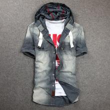 卡威酷sn男夏装新式55洗牛仔衬衫男士短袖衬衣外套上衣薄透气