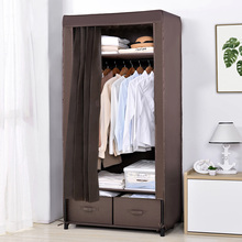 简易衣sn加粗加固钢ak出租房用单的布艺组装布柜牛津布经济型