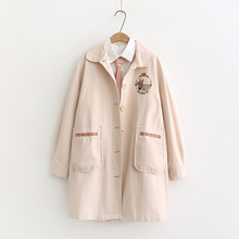 日系森sn春装(小)清新lz兔子刺绣学生长袖宽松中长式风衣外套女