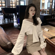韩款百so显瘦V领针ia装春装2020新式洋气套头毛衣长袖上衣潮