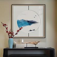 新中式so关装饰画中ea意山水挂画楼梯走廊过道壁画书房墙画