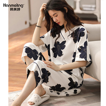 女士纯棉睡衣夏季薄款短袖