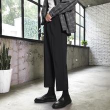 insso筒休闲裤韩ic九分裤工装西裤男港风潮流大码宽松阔腿裤
