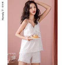 吊带背心睡衣女莫代尔夏季so9感短袖短es松两件套装薄款夏天