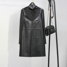 202so秋冬新式黑es皮吊带连衣裙短裙两件套内搭打底衫有大码