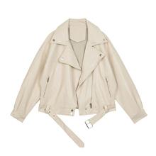 VEGso CHANes皮衣女2021春装新式西装领BF风帅气pu皮夹克短外套