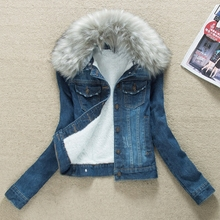 冬季新so 韩款女装ic加绒加厚可脱卸毛领牛仔棉衣棉服外套