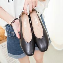 新式百so时尚净面粗ic单皮鞋休闲舒适中年女鞋软底浅口妈妈鞋