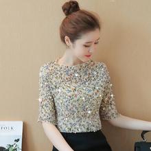 很仙的雪纺衬so3女装20om新款潮碎花时尚上衣超仙短袖洋气(小)衫
