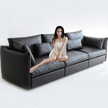 北欧真so沙发三的客li简约(小)户型头层牛皮双的位转角皮艺组合