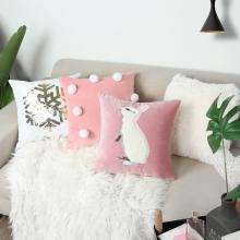 insso公主兔子毛li沙发抱枕套粉色床头靠垫护腰靠背午睡神器