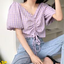 格子短so上衣女露肚li20夏季新式设计感(小)众韩款抽绳泡泡袖衬衫