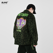 BJHso春季新式豹ma衬衫男国潮流卡通宽松复古帅气休闲衬衣外套