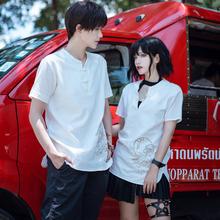 卿棠原so-貔貅-复tv风情侣式男女衬衣刺绣短袖t恤棉麻春夏式