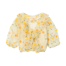 Dessogner tvs 刺绣花朵网纱衬衫女V领泡泡袖短式上衣+吊带两件套