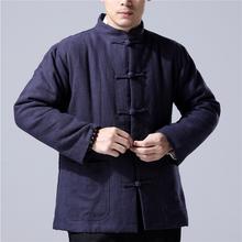 202so秋冬新式中ce族风棉麻男装棉袄棉服短式外套禅修居士服饰