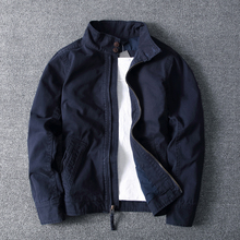 春秋冬so日韩时尚复ce简约 纯棉纯色厚实短式修身立领夹克外套