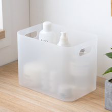 桌面收so盒口红护肤ce品棉盒子塑料磨砂透明带盖面膜盒置物架