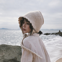帽子女so冬花边针织ha耳软妹可爱系带毛线帽日系针织帽