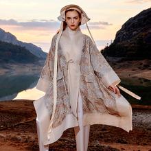 设计感so套2021ha女装大码宽松重工提花斗篷披风系腰带风衣服