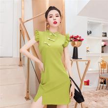 御姐女so范2021in油果绿连衣裙改良国风旗袍显瘦气质裙子女