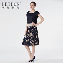 LEIsoON/李红la式欧美简约高档品牌群子连衣裙夏W36769