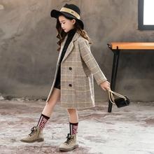 女童毛so外套洋气薄zi中大童洋气格子中长式夹棉呢子大衣秋冬