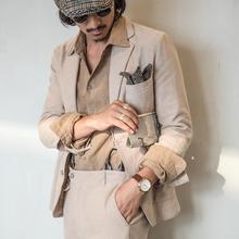 SOAsoIN英伦复ry西装男 绅装棉麻轻薄西服亚麻料休闲单西外套